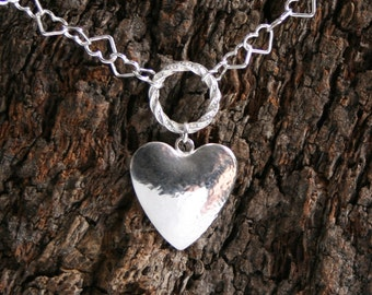 Secret Desires. Discrete PERMANENTLY LOCKING Heart chain Fancy O ring Day Collar/Slave Necklace. Sterling silver. Personalized. Secret ring
