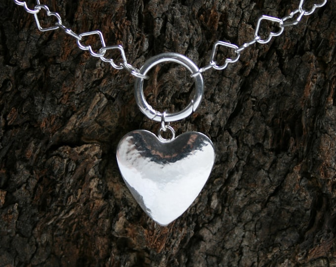 Secret Desires. Discrete Heart chain O ring Day Collar / Slave Necklace. Sterling silver. Can be personalized. Hidden 'O' ring. Secret ring