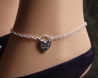 Discrete Padlock Slave Ankle Chain Bracelet. Padlock BDSM Anklet. Sterling silver. Choose plain or fancy engraved padlock.