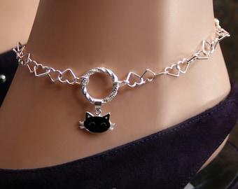 Sir's Kitten. Black Cat Slave Fancy 'O' ring Ankle Chain Bracelet. BDSM Anklet. Sterling silver. Heart links. Infinity/Captive/Eternity ring