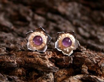 Star-flower cascade ~ Natural gemstone & Sterling Silver stud earrings. 'Wildflower series' Exclusive design. Choose gemstone/color