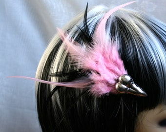 Exclusive 'Baby Pink & Black Raven' hair grip / fascinator in baby pink with hints of  black.