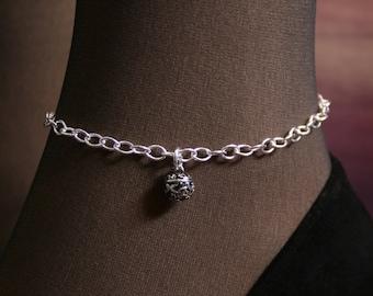 Fancy Slave Bell. PERMANENTLY LOCKING Slave Ankle Chain Bracelet. BDSM Anklet. Sterling silver. Tiny slave bell ankle chain. Little bell.