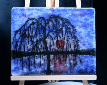 Winter Willow - Hand painted Kiln Fused art glass 3D painting. Glass art / panel.  One of a kind painted glass panel. Blue & red sunset.