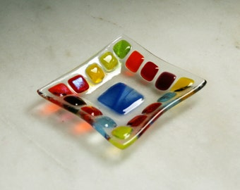 Bejewelled (D2), mosaic series, fused glass ring dish / earring dish in a range of vibrant hues. Red/Yellow/Orange/Green/Blue.