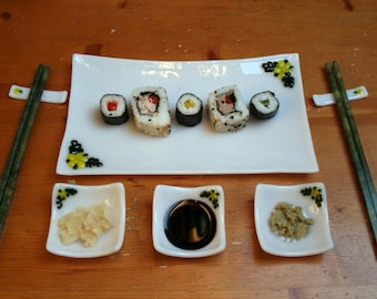 Fused glass Sushi set 'Flora in Yellow' 6 or 8 piece large serving set (2 or 4 person set) With yellow flowers & green leaves set on white.
