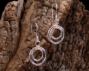 Circle of Life. Sterling Silver dangle earrings. Exclusive design. Minimalist earrings. Classic design. Simple silver earrings. Elegant.