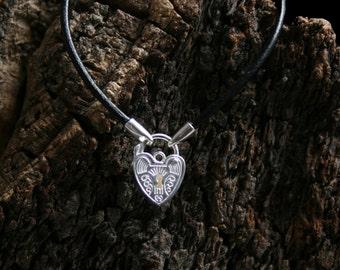 Discrete Unisex Slave bracelet. Sterling silver. Choose Black/pink/purple leather or black rubber. Choose plain or fancy padlock