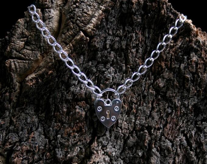 Unisex Heavyweight Sterling silver Slave bracelet. Large padlock BDSM bracelet. Fully UK Hallmarked heavy sterling silver.