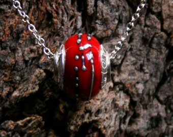 Passionata ~ Lampwork big hole focal bead. Hand made full sterling silver core & end caps. Fine silver wrapped. Organic. Fresh Blood red.