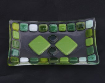 Sunlit Forest (D3), mosaic series, fused glass soap / trinket / sushi dish in a range of greens on a clear base. Bathroom/ Kitchen/ Bedroom