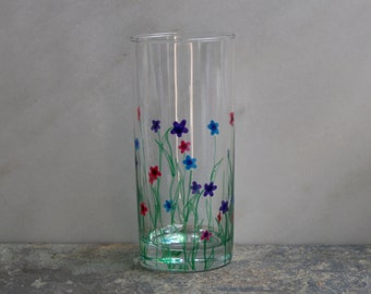 Flower Garden. An exclusive design - hand painted hi-ball glasses. Purple/Pink/Blue/choose color(s) Custom options/personalization available
