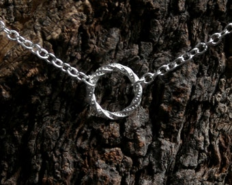 Discrete Fancy 'O' ring Day Collar / Slave Necklace. Sterling silver. Infinity / Eternity / Story of O / Captive ring. Choker or necklace.