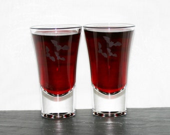 Bat Shot - Pair of hand etched shot glasses featuring a trio of beautiful bats.