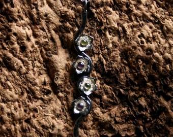Star-flower cascade ~ Natural gemstone & Sterling Silver pendant. 'Wildflower series' Exclusive design. Choose gemstone/color. MADE TO ORDER