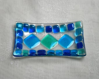 Summer Seas (D4), mosaic series, fused glass soap / trinket / sushi / chocolates dish in a range of blues. Bathroom / Kitchen / Bedroom