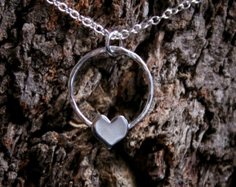 Love Heart. Eco-friendly Sterling Silver pendant. Mothers day / Birthday / Valentines / Wedding / Engagement / Push gift / I love you