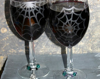 Wicked Webs - Pair of exclusive design spider web wine glasses