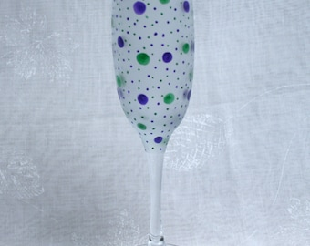 Dotty about You! Purple & Green Exclusive design hand painted champagne glass with purple and green dots and spots encircling an etched bowl