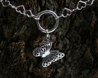 Discrete 'Beautiful Butterfly' PERMANENTLY LOCKING Heart chain O ring Day Collar / Slave Necklace. Sterling silver. Eternity / Infinity ring