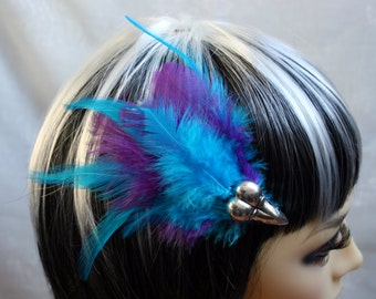 Exclusive 'Electric Blue & Purple Raven' hair grip / fascinator in electric blue and Purple.