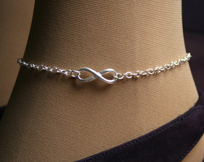 Infinity. Infinity symbol Slave Ankle Chain Bracelet. BDSM Anklet. Sterling silver. Infinity link, Choose small or large infinity symbol.