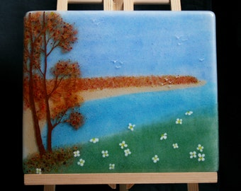 Autumn by the Sea - Hand painted Kiln Fused art glass 3D painting. Glass art / panel. One of a kind painted glass panel. Seascape Landscape.
