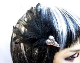 Exclusive 'Black Raven' hair grip / fascinator in plain black.