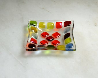 Bejewelled (D1), mosaic series, fused glass ring dish / earring dish in a range of vibrant hues. Red/Yellow/Orange/Green/Blue.