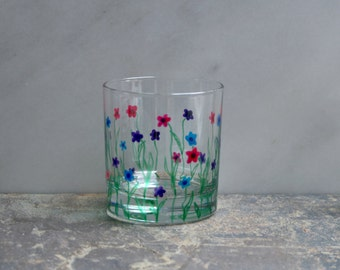 Flower Garden. An exclusive design - hand painted tumbler glasses. Purple/Pink/Blue/choose color(s) Custom options/personalization available