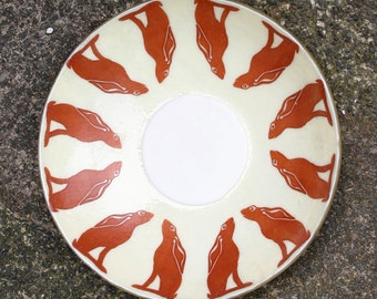 Celebration of Spring - A large, Exclusive, fused glass bowl featuring a dozen hares gazing at a central moon. Moon gazing hare altar bowl.
