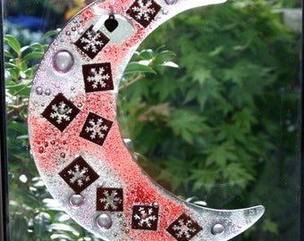 """Fused glass hanging ornament 'Christmas Snow' Copper snowflakes encased in a fused glass 'bubble' moon 19 cm / 7.5"""" Dia. plus hanging ribbon"""