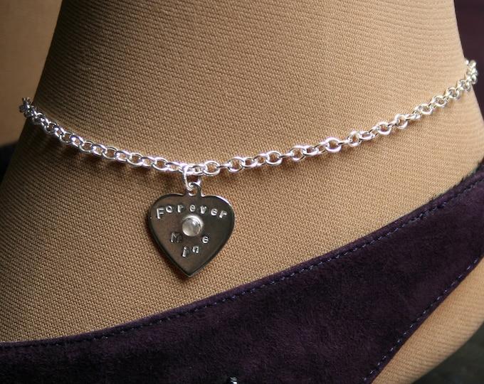 Lil Heart ~ Personalized PERMANENTLY LOCKING Slave Ankle Chain Bracelet. BDSM Anklet. Sterling silver & choose Gemstone. Little heart anklet