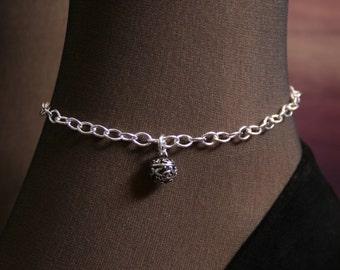 Fancy Slave Bell. Slave Ankle Chain Bracelet. BDSM Anklet. Sterling silver. Tiny slave bell ankle chain. Little bell anklet.