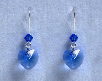Handmade 'Birthday' earrings. September, Sapphire, Birthstone, Birth sign, Zodiac, Virgo. Silver & Swarovski crystal heart earrings