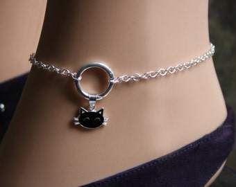 Sir's Kitten. PERMANENTLY LOCKING Black Cat 'O' ring Slave Ankle Chain Bracelet. BDSM Anklet. Sterling silver.  Infinity / Eternity ring.