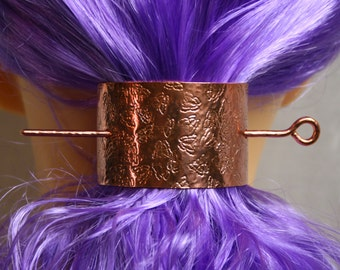 Barrette 'Butterfly' Hand made Pony tail cover, hair clip, hair slide, hair clasp, hair pin, pony tail grip. Solid copper. Pure copper.