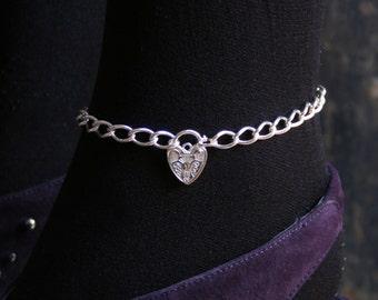 Permanently locking Sterling silver Slave ankle chain BDSM bracelet. Choose plain or Fancy padlock Fully UK Hallmarked heavy sterling silver