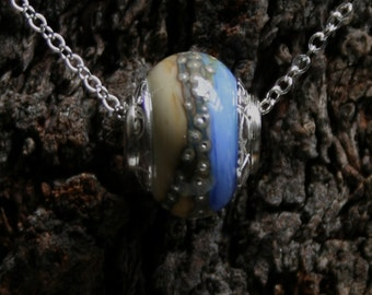 Distant Shores ~ Lampwork big hole Focal bead. Hand made full sterling silver core & end caps. Fine silver wrapped. Organic. Sea and sand.