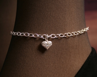 Heart of Hearts. PERMANENTLY LOCKING Slave Ankle Chain Bracelet. BDSM Anklet. Sterling silver. Little puffed heart. Filigree heart.