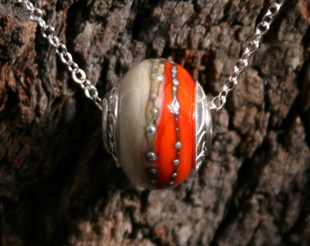 Africa ~ Lampwork big hole Focal bead. Hand made full sterling silver core & end caps. Fine silver wrapped. Organic. Vibrant Orange + Ivory