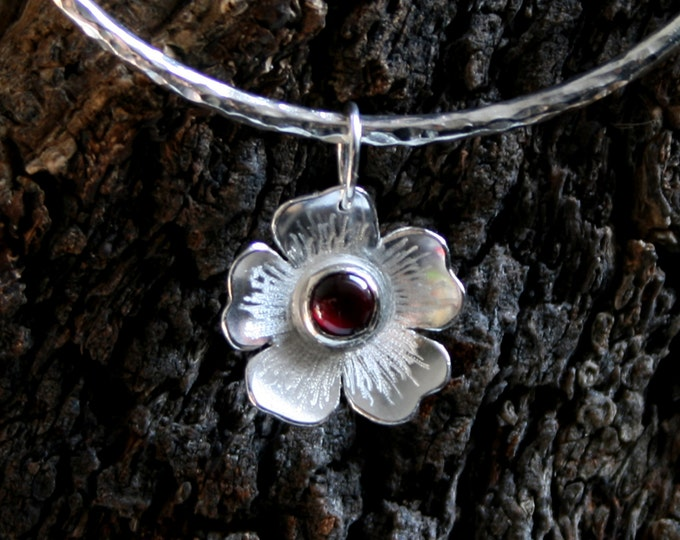 Rosa. Garnet & Sterling Silver Wild Rose Drop/Floater bangle.  'Wildflower series' Exclusive design. Capricorn birthstone, January gemstone.
