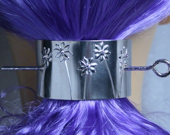 Barrette 'Ma Petite Fleur' Pony tail cover, hair clip, hair slide, hair clasp, hair pin, pony tail grip. Fully UK Hallmarked Sterling Silver