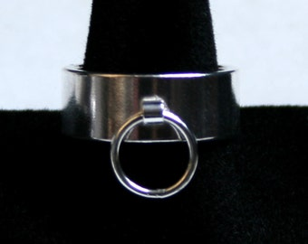 Heavyweight 8mm Wide Sterling Silver Ring of O, BDSM Ring, Story of 'O' ring. Slave Ring. Fully UK hallmarked. Sizes Q to Z  (US 8 - 12 1/2)