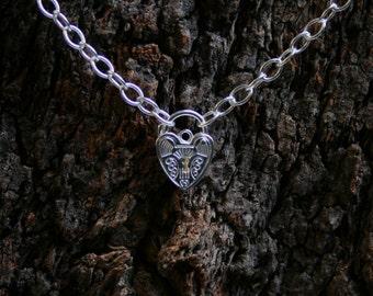 Discrete PERMANENTLY LOCKING Sterling silver Slave Bracelet. Plain or fancy padlock BDSM bracelet. Choose plain or fancy engraved padlock.