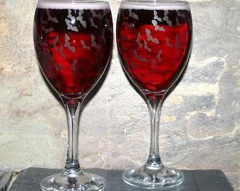 Bat Flight - Pair of exclusive design batty wine glasses