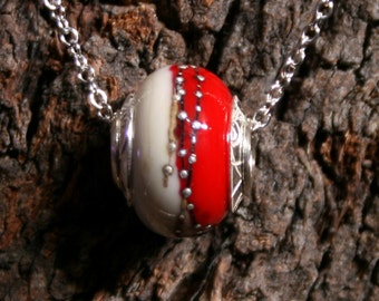Secret Passions ~ Lampwork big hole Focal bead. Hand made full sterling silver core & caps. Fine silver wrapped. Organic. Ivory + Blood Red.