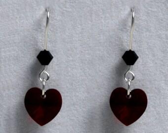 Handmade 'Birthday' earrings. January, Garnet, Birthstone, Birth sign, Zodiac, Capricorn. Sterling silver & Swarovski crystal heart earrings