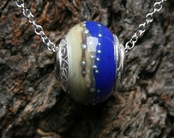 Saphira ~ Lampwork big hole Focal bead. Hand made full sterling silver core & end caps. Fine silver wrapped. Organic. Cobalt blue and Ivory