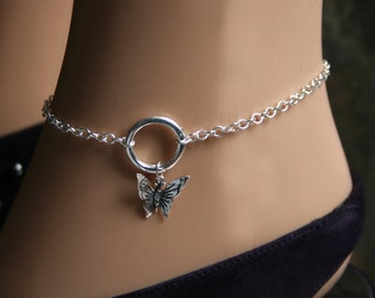 PERMANENTLY LOCKING Butterfly dropper 'O' ring Slave Ankle Chain Bracelet. BDSM Anklet. Sterling silver. Infinity / Eternity / Captive ring.